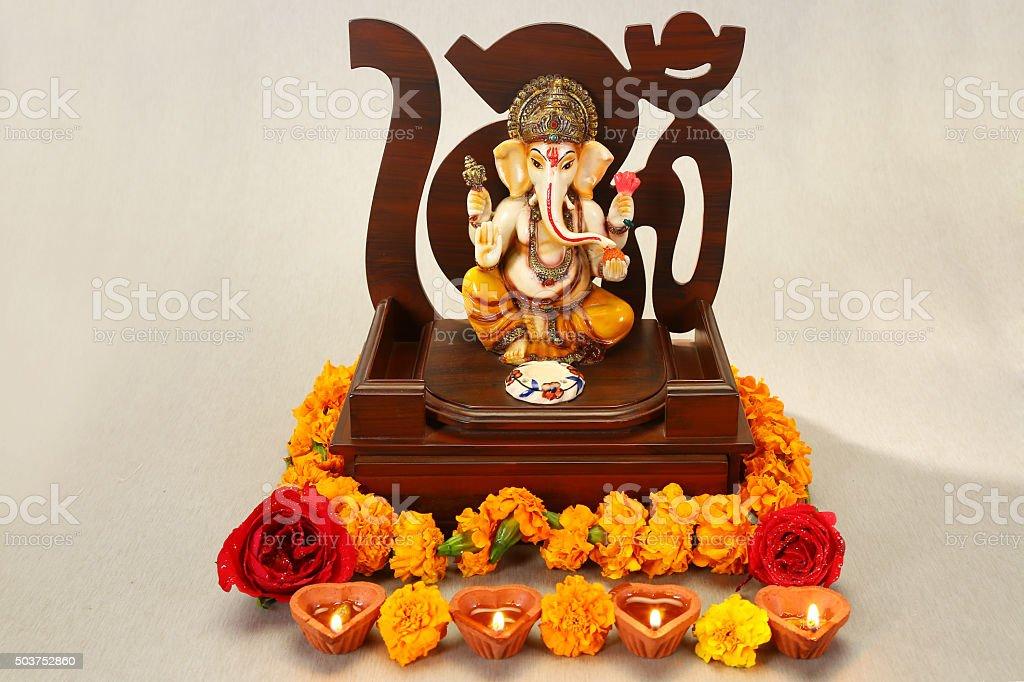 Mythological elephant god - Ganesha at Diwali Festival stock photo