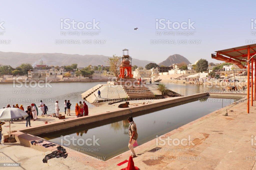 Mythological Pushkar Lake in Pushkar, Rajasthan stock photo