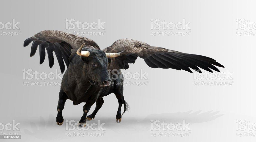Mythological winged bull. stock photo