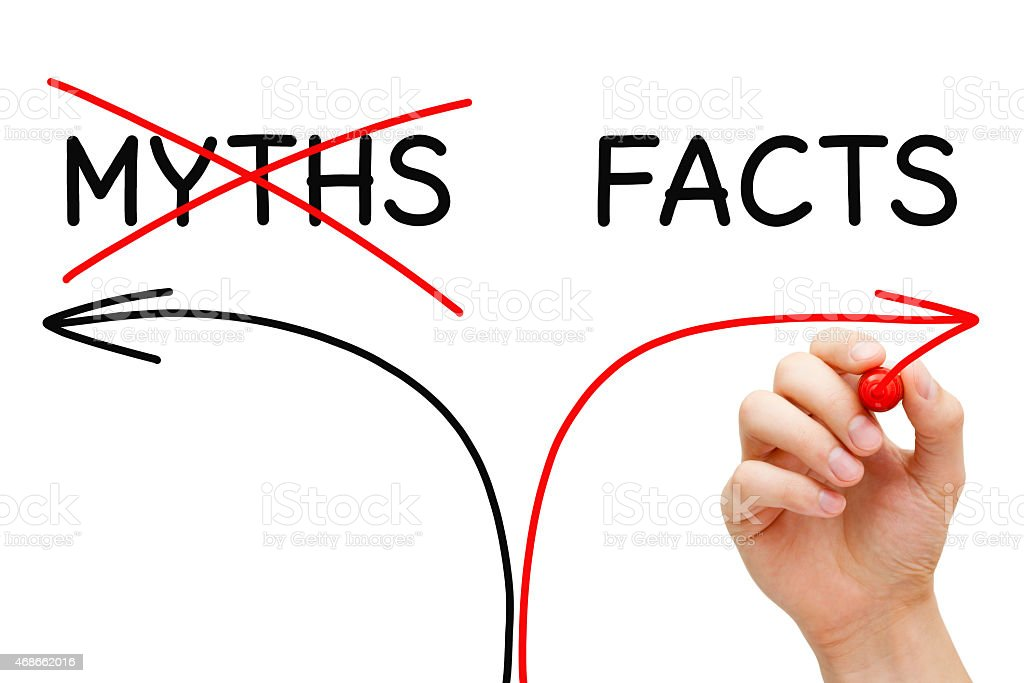 Myths Facts Arrows Concept stock photo