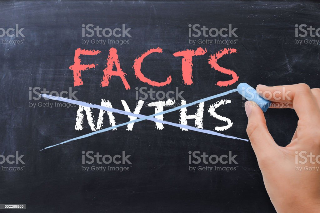 Myths or Facts concept with business woman hand drawing on blackboard stock photo