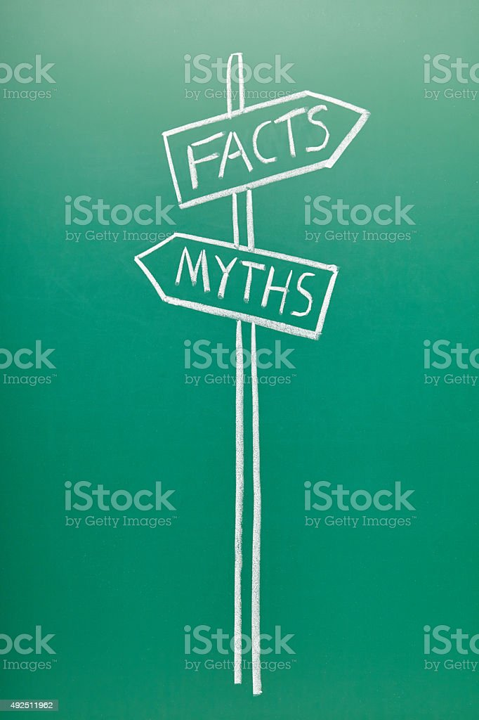Myths or Facts, words on blackboard stock photo