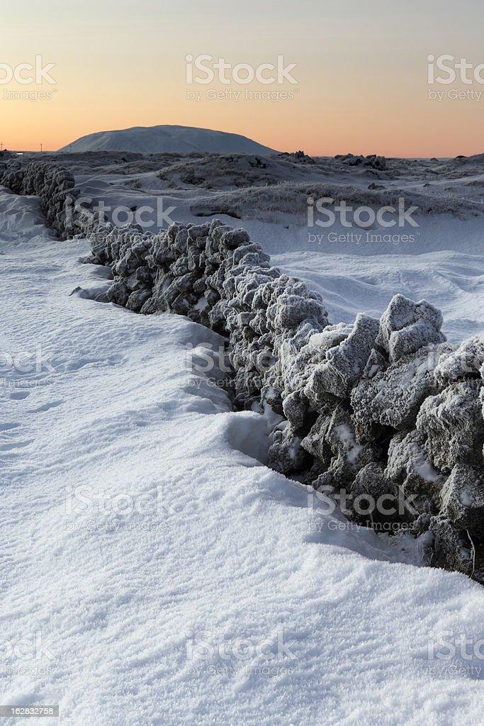 Myvatn in winter snow, Iceland stock photo