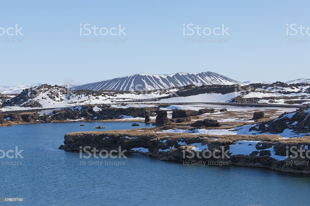 Myvatn volcano and lake with clear blue sky stock photo