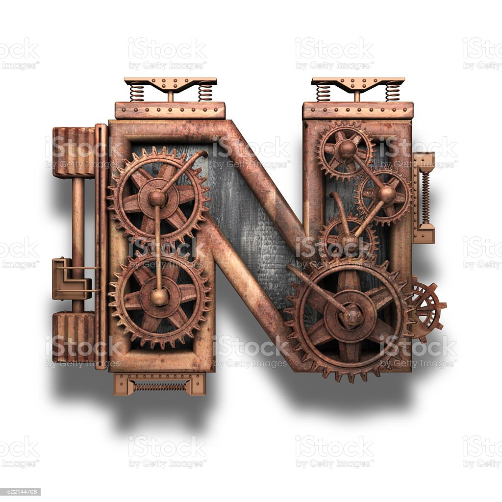 n rusted letter with gears on white stock photo