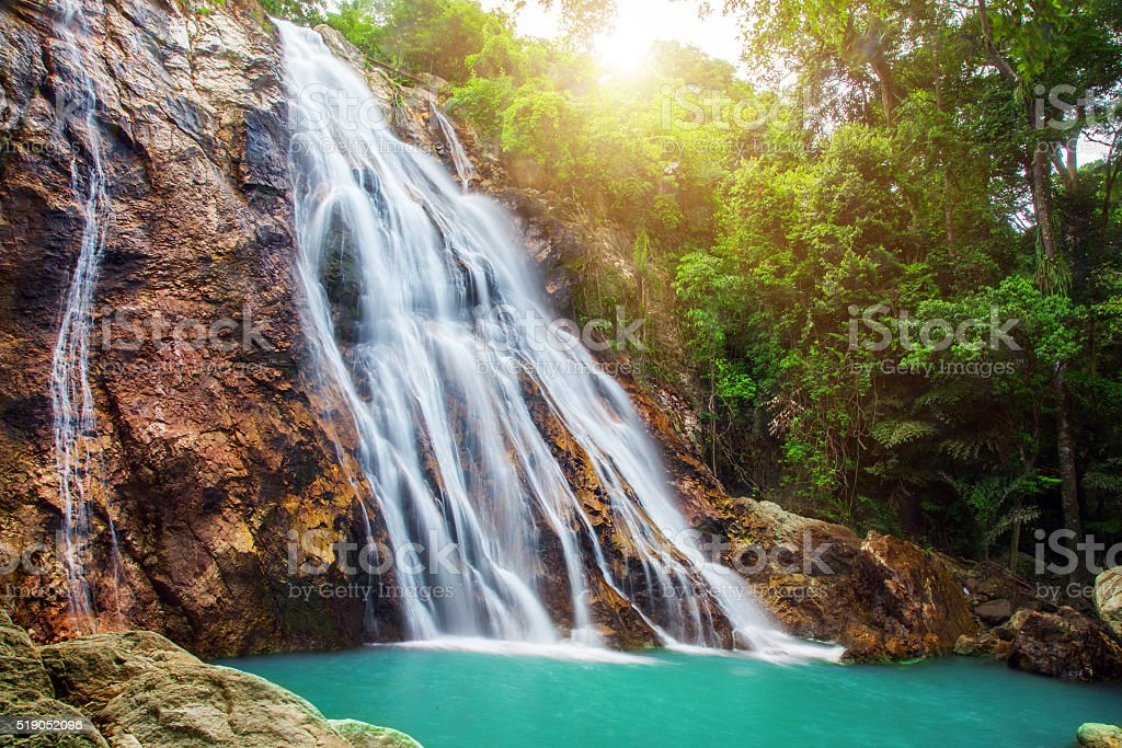 Na Muang 1 waterfall, Koh Samui, Thailand stock photo