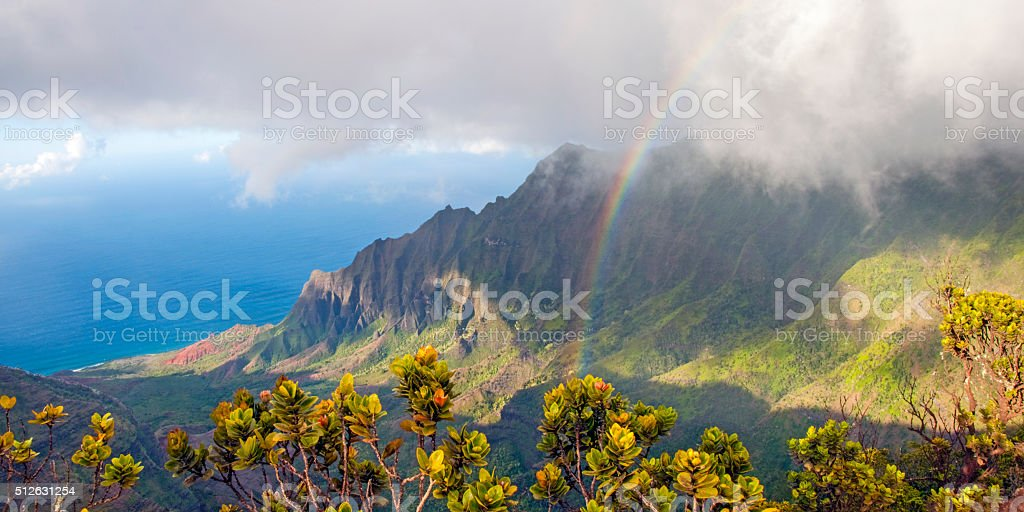 Na Pali and Rainbow stock photo