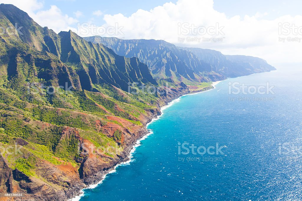 na pali coast from helicopter stock photo