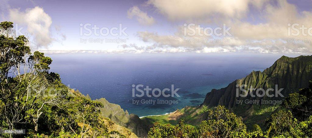 Na Pali Coast in Panorama stock photo
