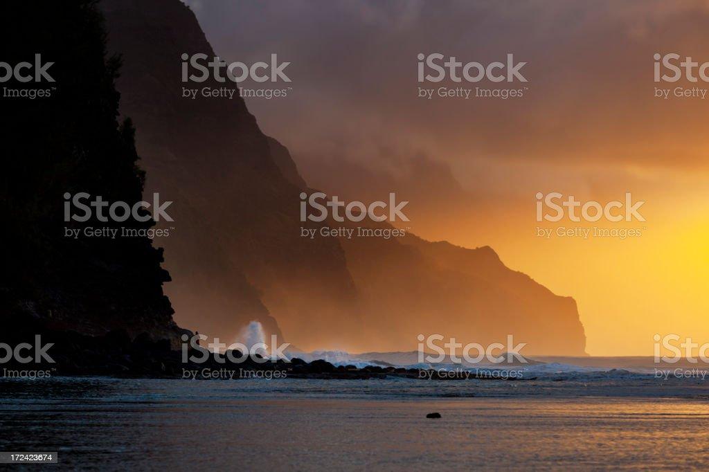 Na Pali Coast Sunset, Kauai royalty-free stock photo