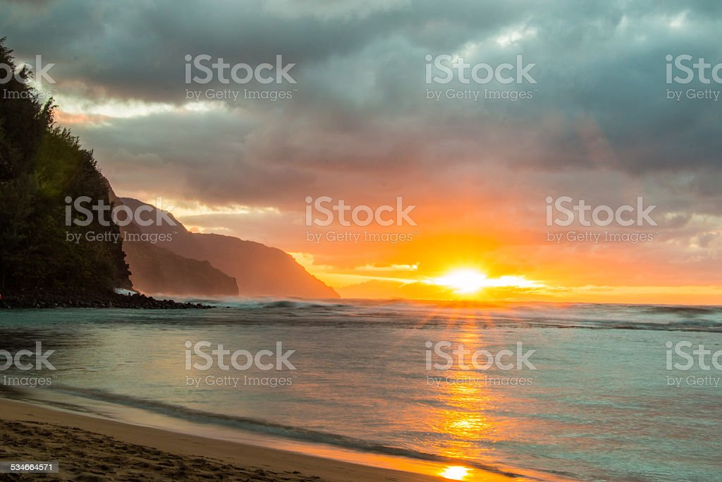 Na Pali Coast Sunset stock photo