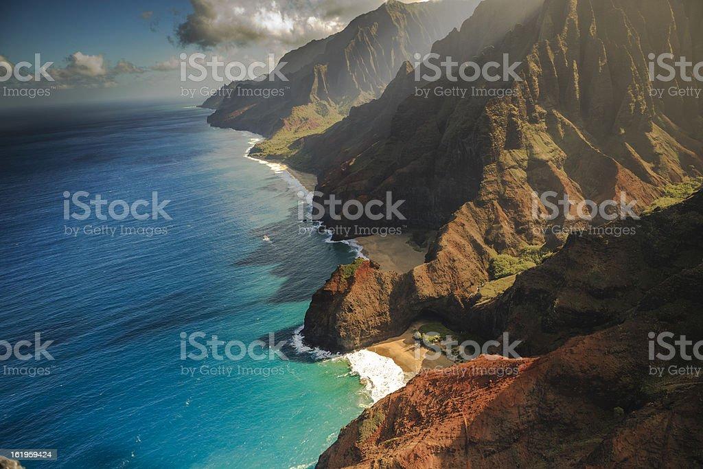 Na Pali Coastline Aerial View  in the Hawaiian Islands stock photo