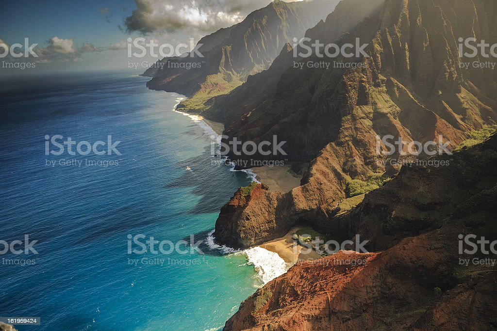 Na Pali Coastline Aerial View  in the Hawaiian Islands stock photo