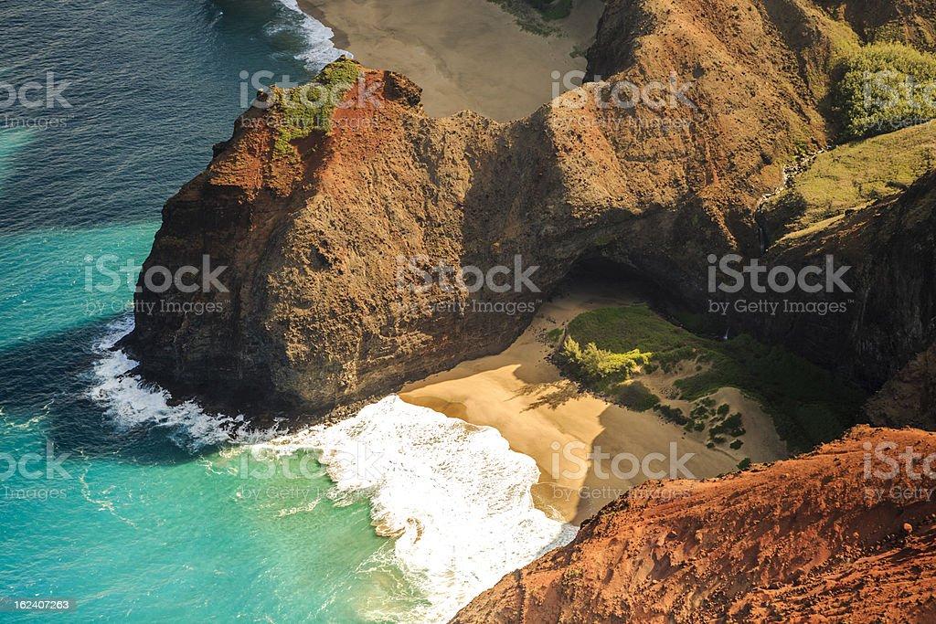 Na Pali Coastline, Kauai in the Hawaian Islands Aderial View stock photo