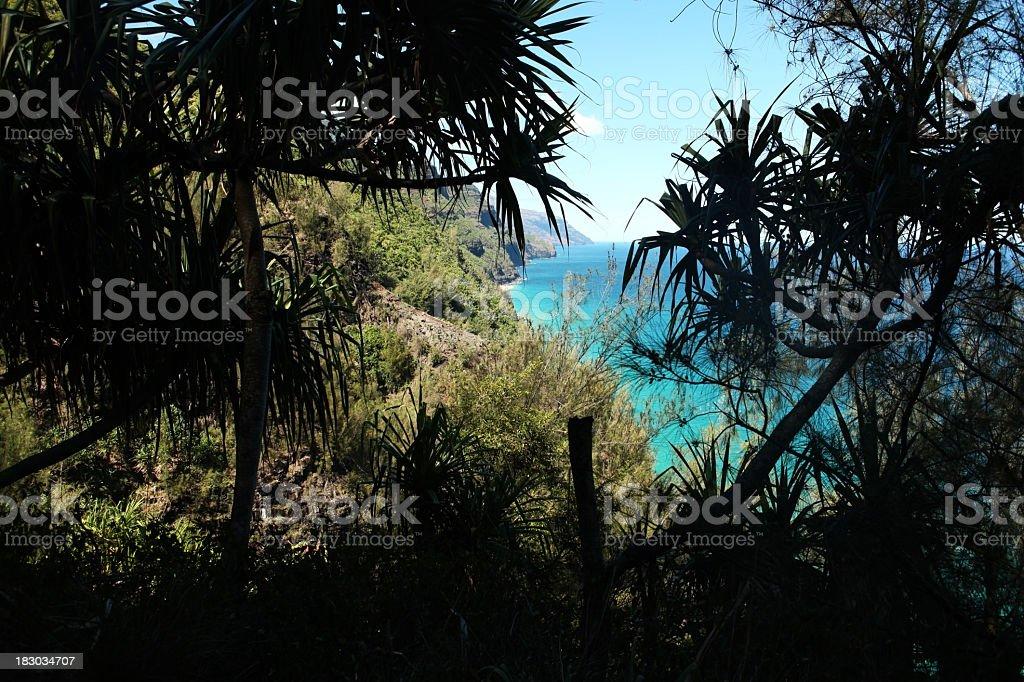 Na Pali coastline on Kalalau Trail stock photo