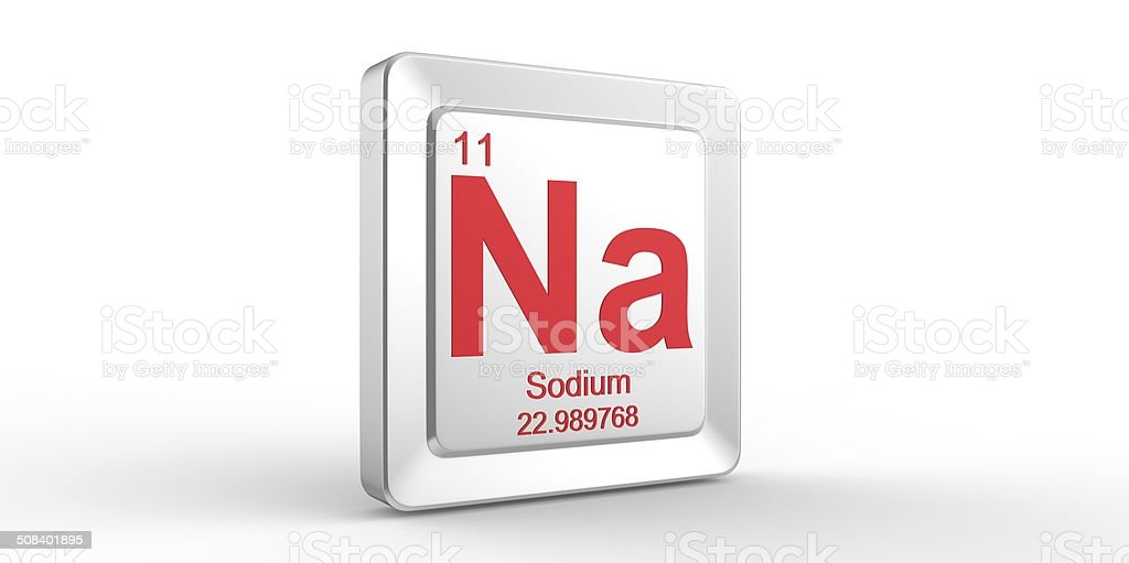 Na symbol 11 material for Sodium chemical element stock photo