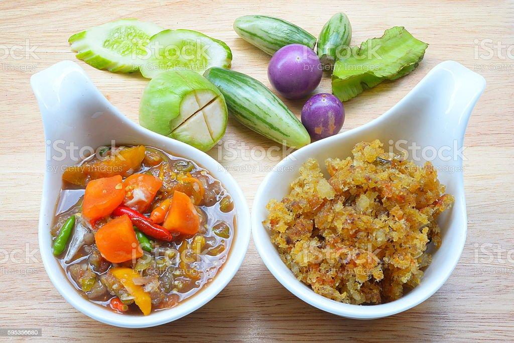 Naam Prik Long Rau , chilli dip with pork  ,Thai Cuisine stock photo