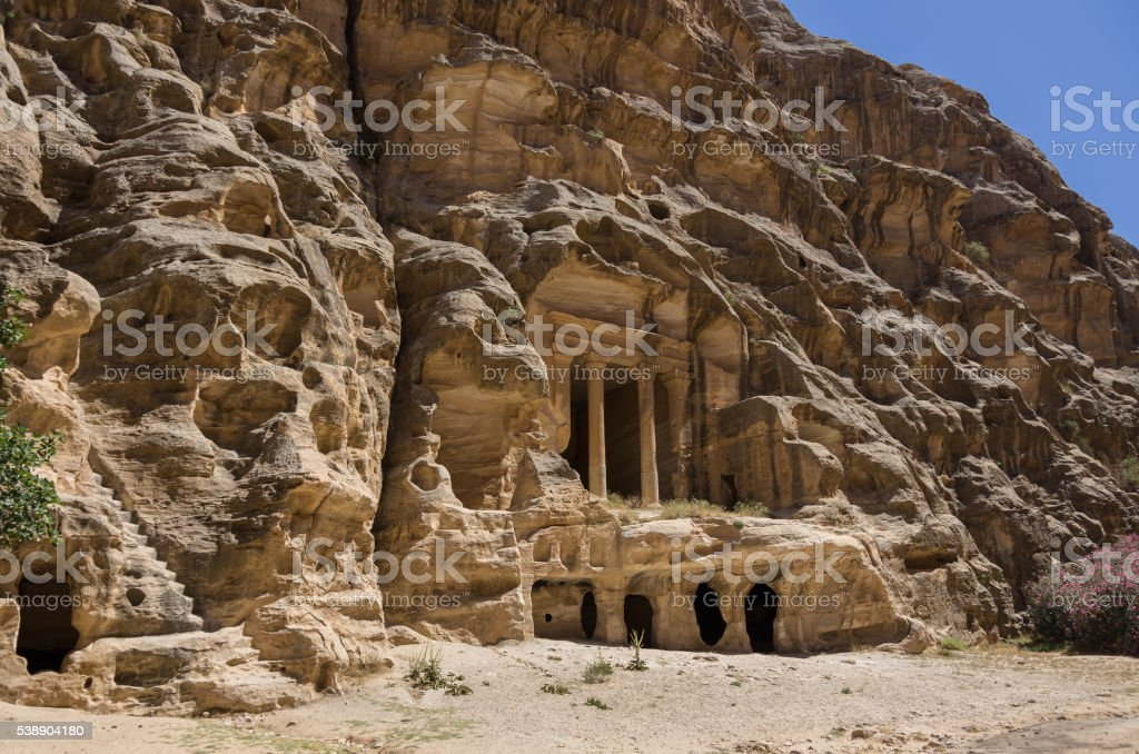 Nabataean delubrum of the Siq al-Barid in Jordan. stock photo