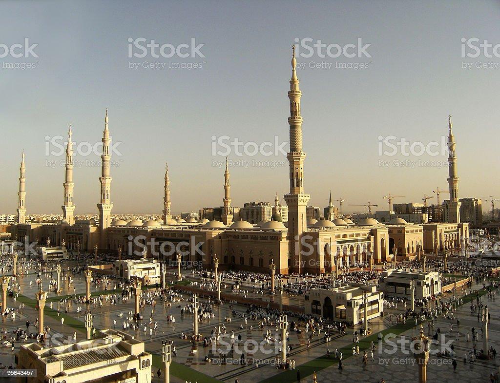 Nabawi Mosque, Medina, Saudi Arabia in the evening. stock photo