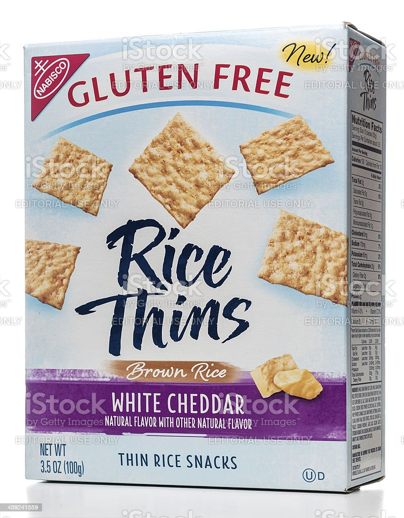 Nabisco Gluten Free Rice Thins White Cheddar package stock photo