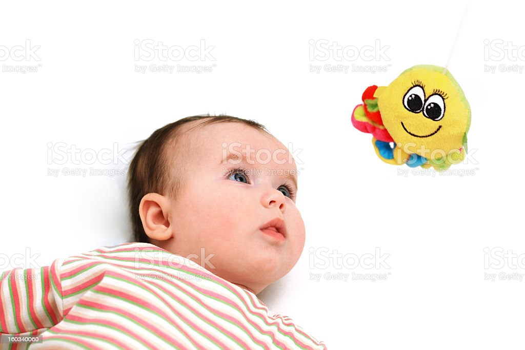 Nace baby keep an eye on the octopus toy royalty-free stock photo