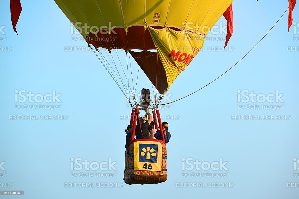 Nacelle view of a balloon in flight stock photo