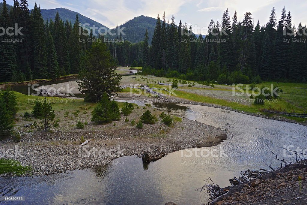 Naches River Sunset stock photo