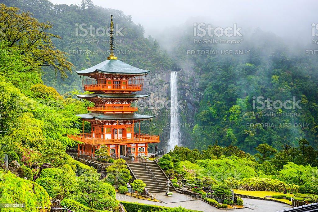 Nachi, Japan Pagoda and Waterfall stock photo