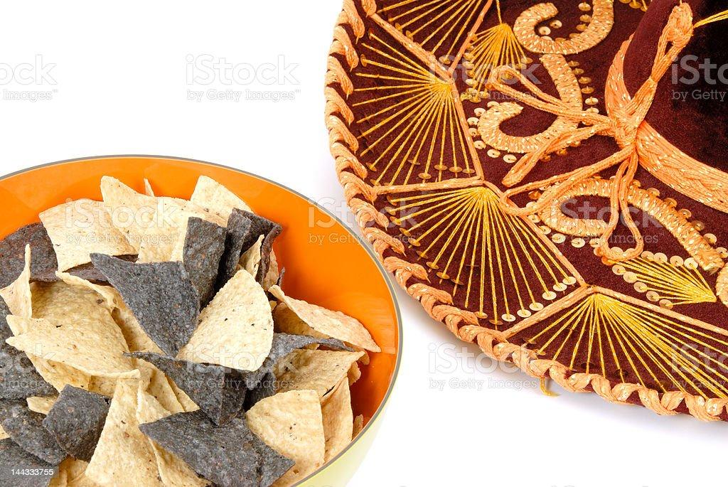 Nacho Chips and Sombrero royalty-free stock photo
