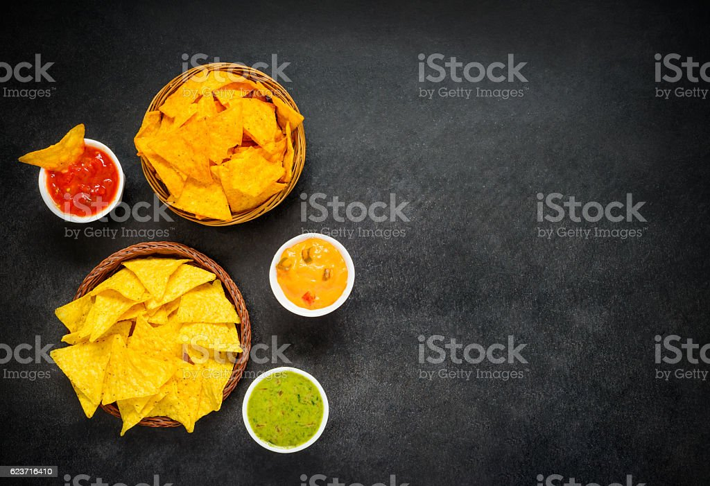 Nacho Chips with Guacamole Dip and Copy Space Area stock photo