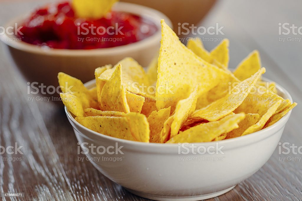 Nacho Chips with Salsa royalty-free stock photo
