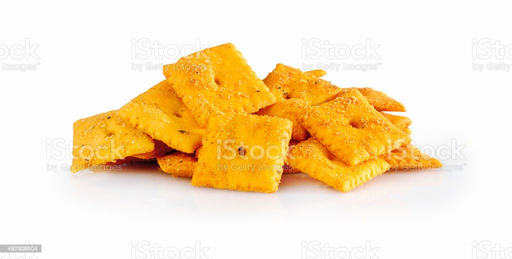 Nacho Flavoured Cheese Crackers stock photo