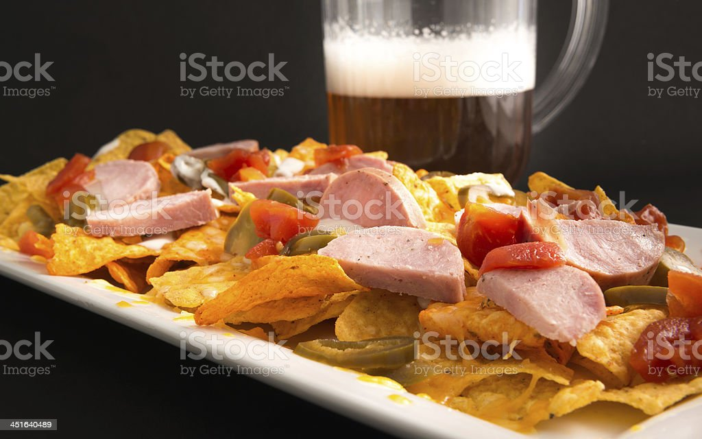 Nachos and Beer stock photo