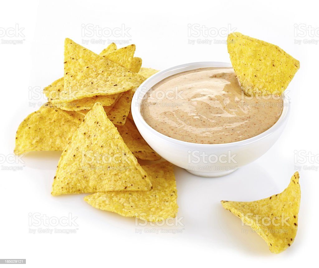 Nachos and dip stock photo