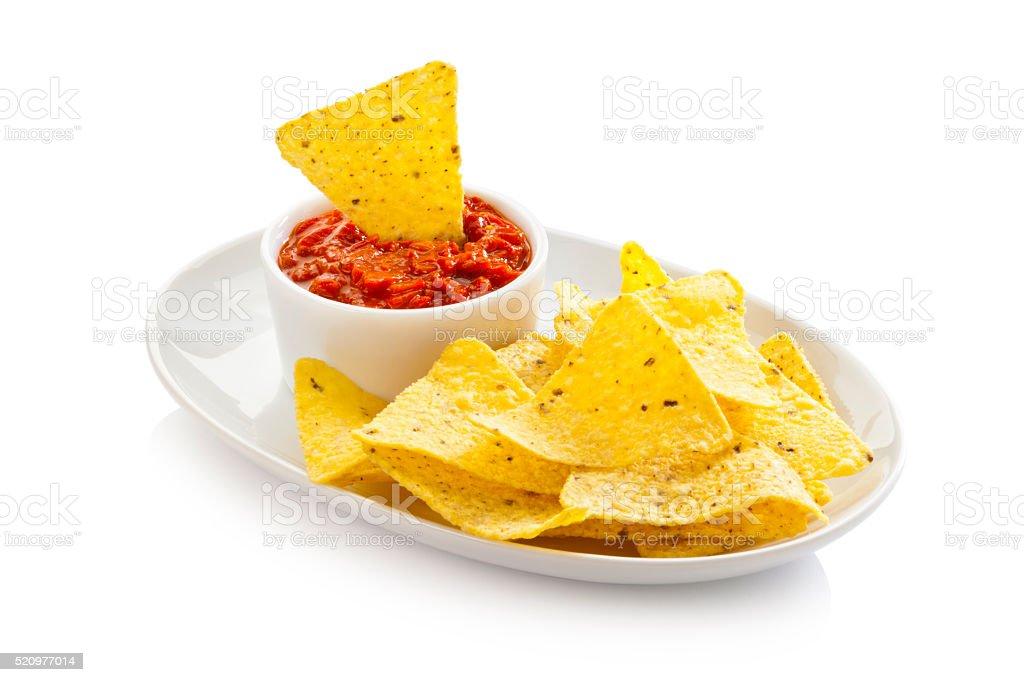 Nachos and Salsa. stock photo