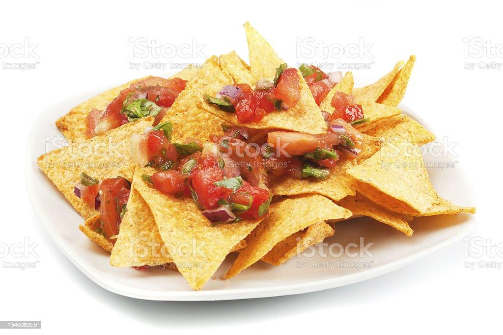 Nachos corn chips with homemade salsa stock photo