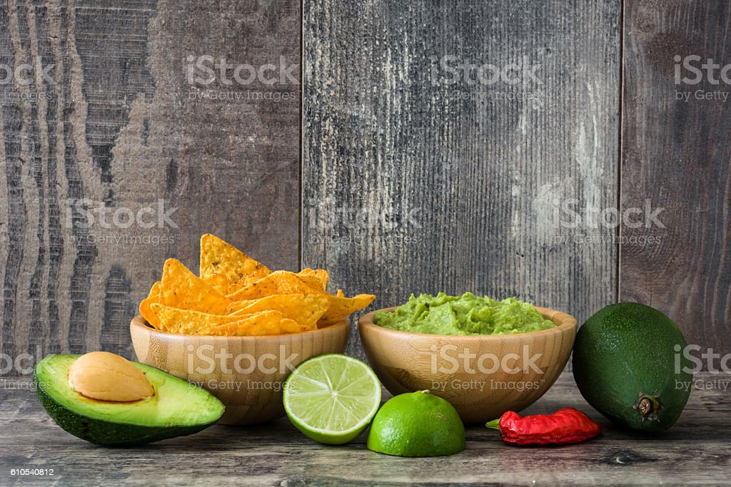 Nachos, guacamole and ingredients stock photo