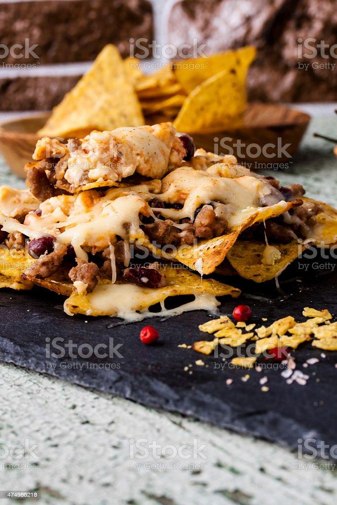 Nachos with beef stock photo