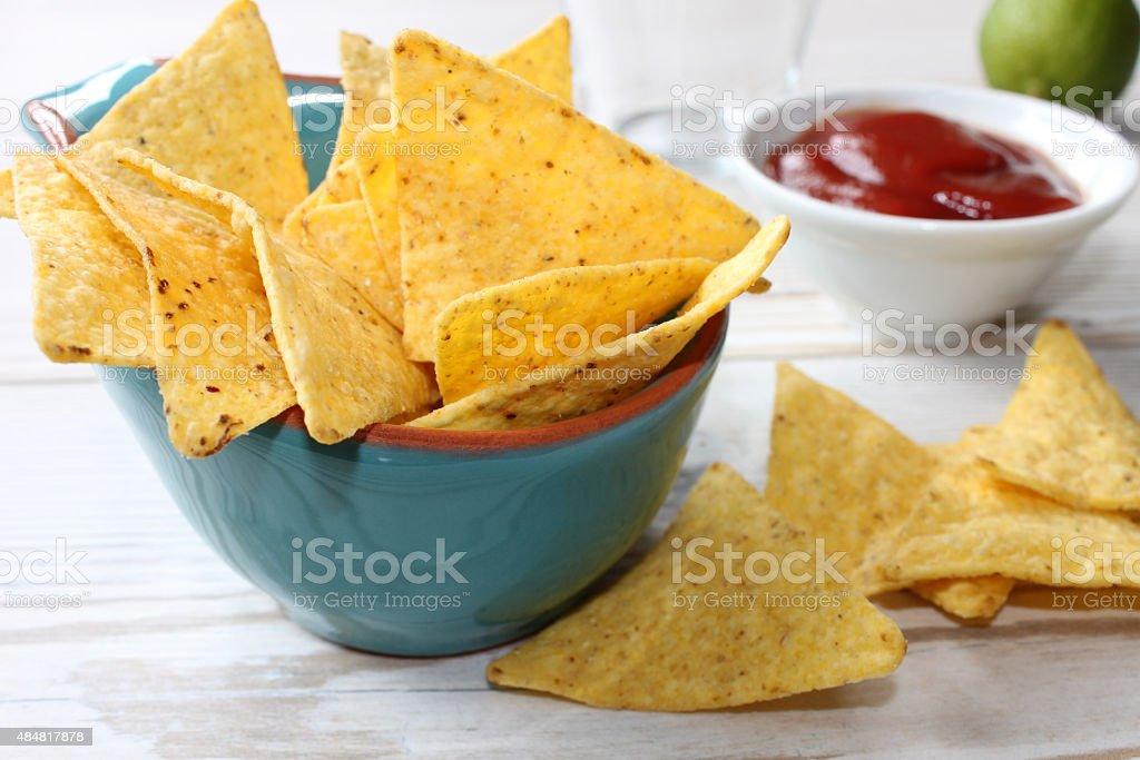 nachos with dip stock photo