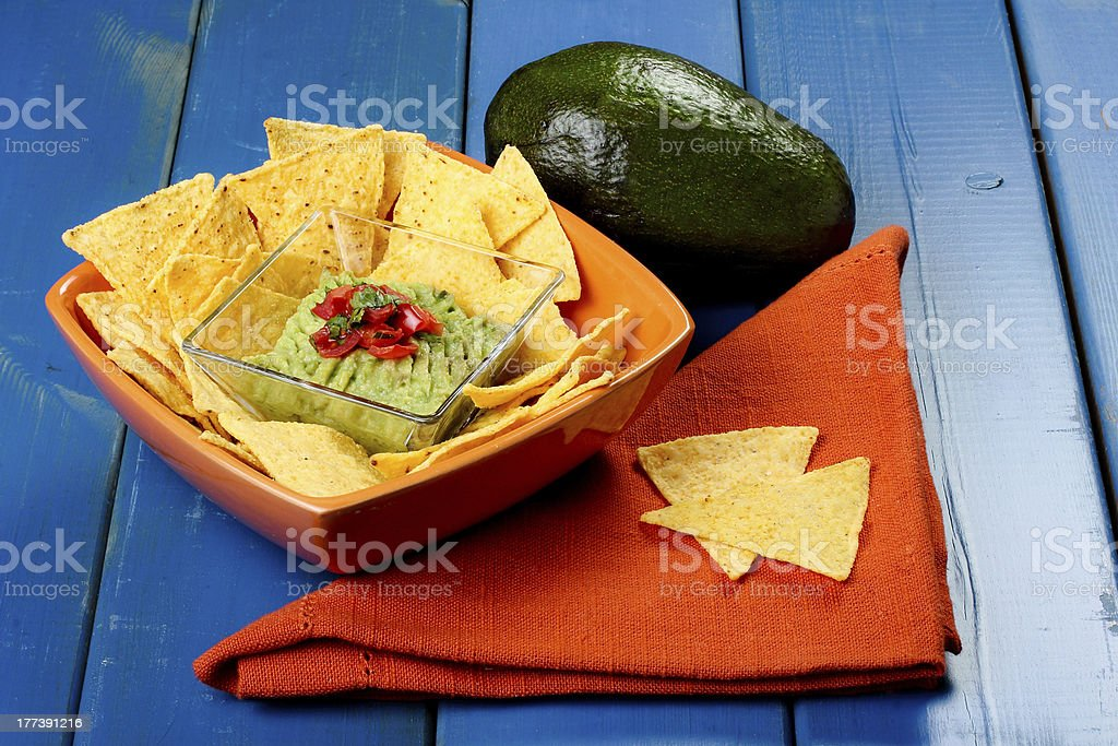 nachos with guacamole royalty-free stock photo