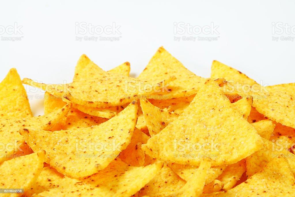 Nachos with salsa dip stock photo