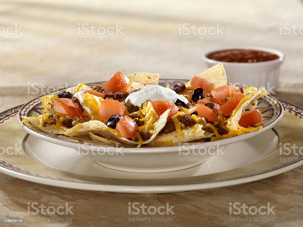 Nachos with Tomatoes and Olives 2 royalty-free stock photo