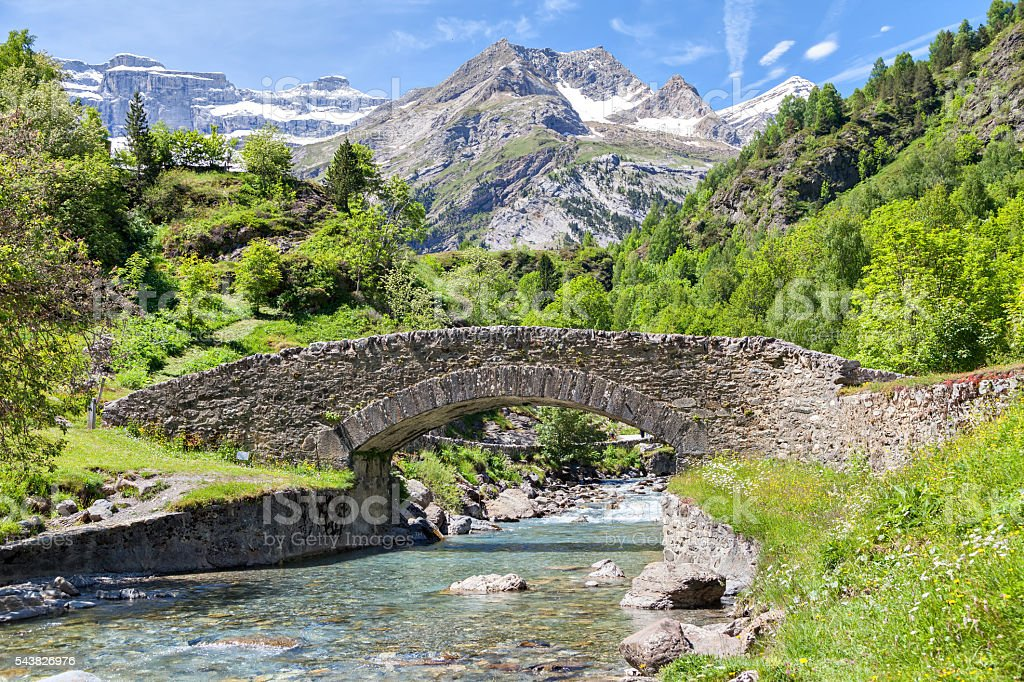 Nadau bridge over Gave de Gavarnie river stock photo