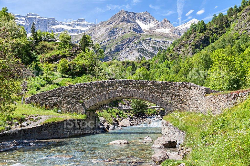 Nadau bridge over Gave de Gavarnie river stock photo