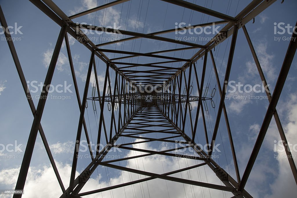 Nadir View of an electricity pylon stock photo