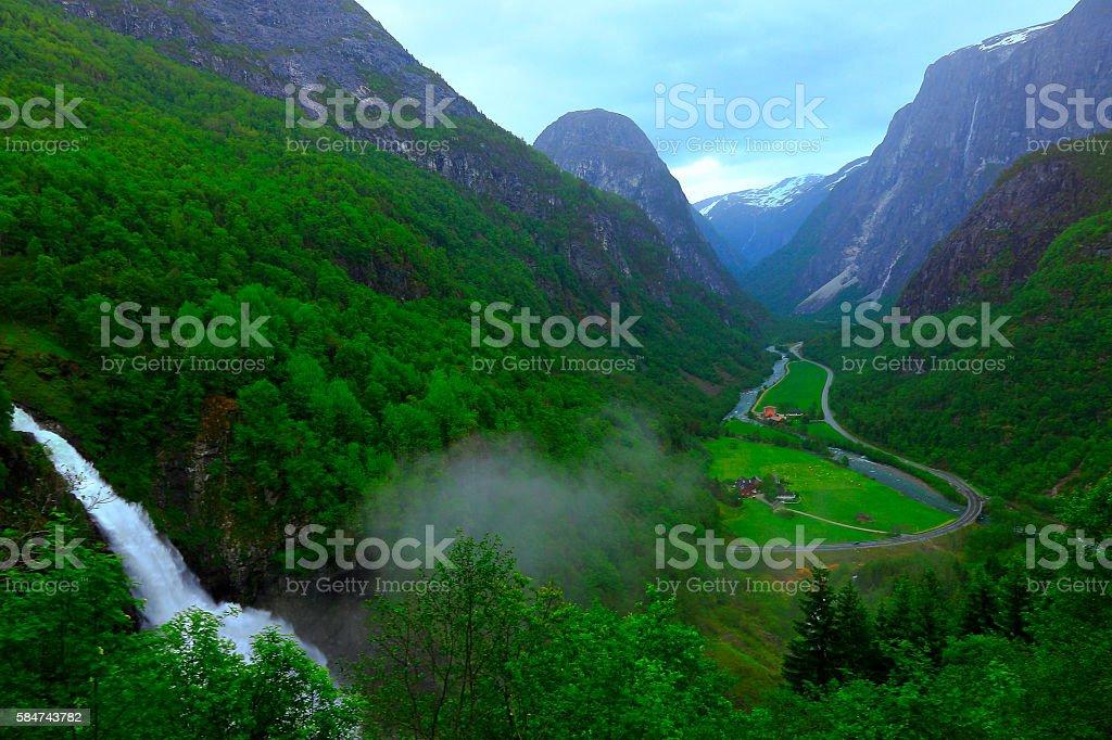 Naeroydalen valley, Stalheimsfossen waterfall, Stalheim national tourist route, Norway, Scandinavia stock photo