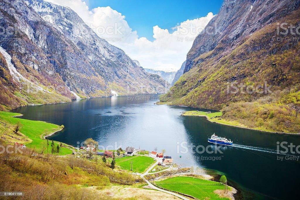 Naeroyfjord - fjord landscape in Sogn og Fjordane region stock photo