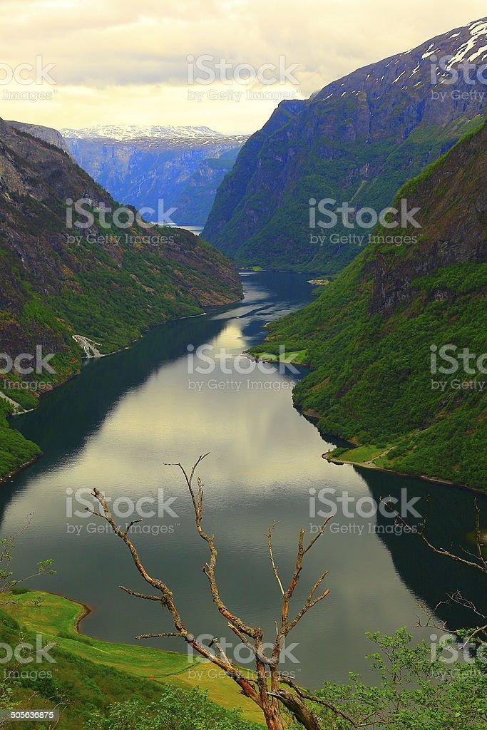 Naeroyfjord: fjord, mountains & water reflection, Norway stock photo