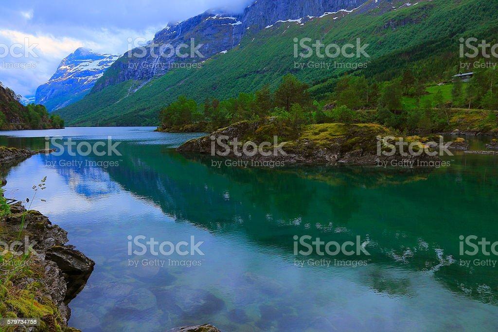 Naeroyfjord idyllic fjord landscape at dawn, Norway, Nordic Countries stock photo