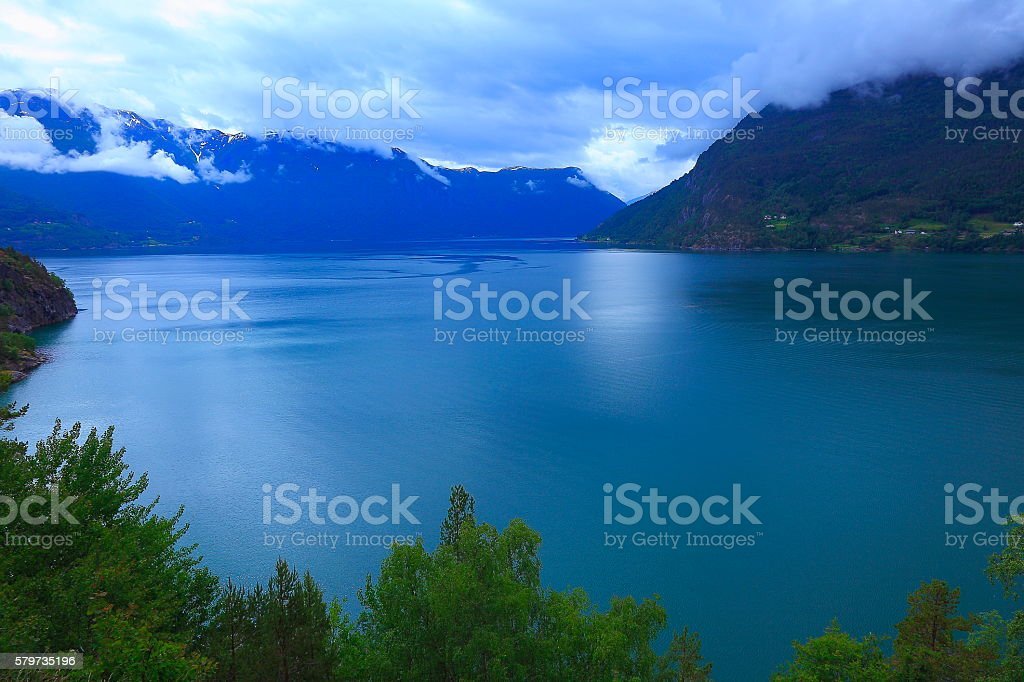 Naeroyfjord idyllic fjord landscape at evening, Norway, Nordic Countries stock photo